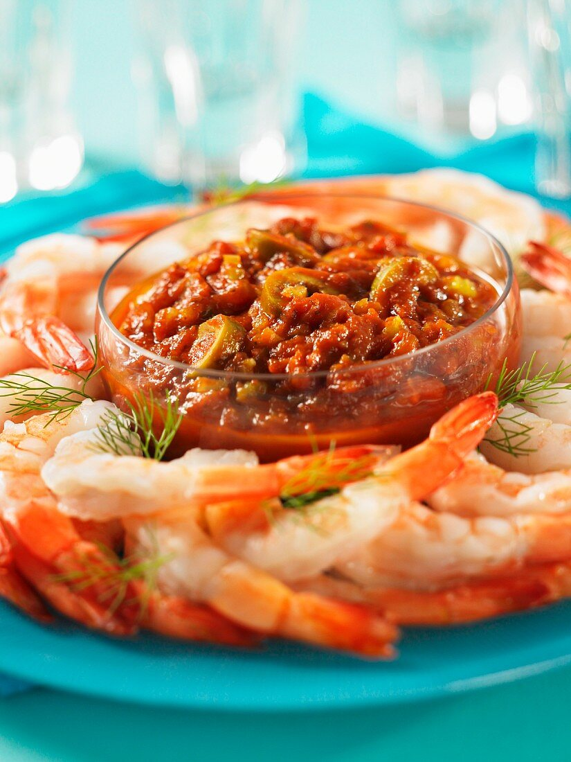 Prawns with a Bloody Mary dip