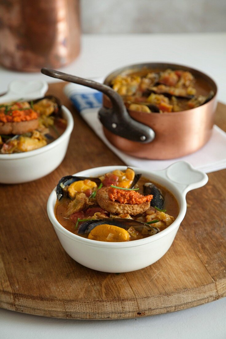 Provençal fish soup with rouille-topped croutons