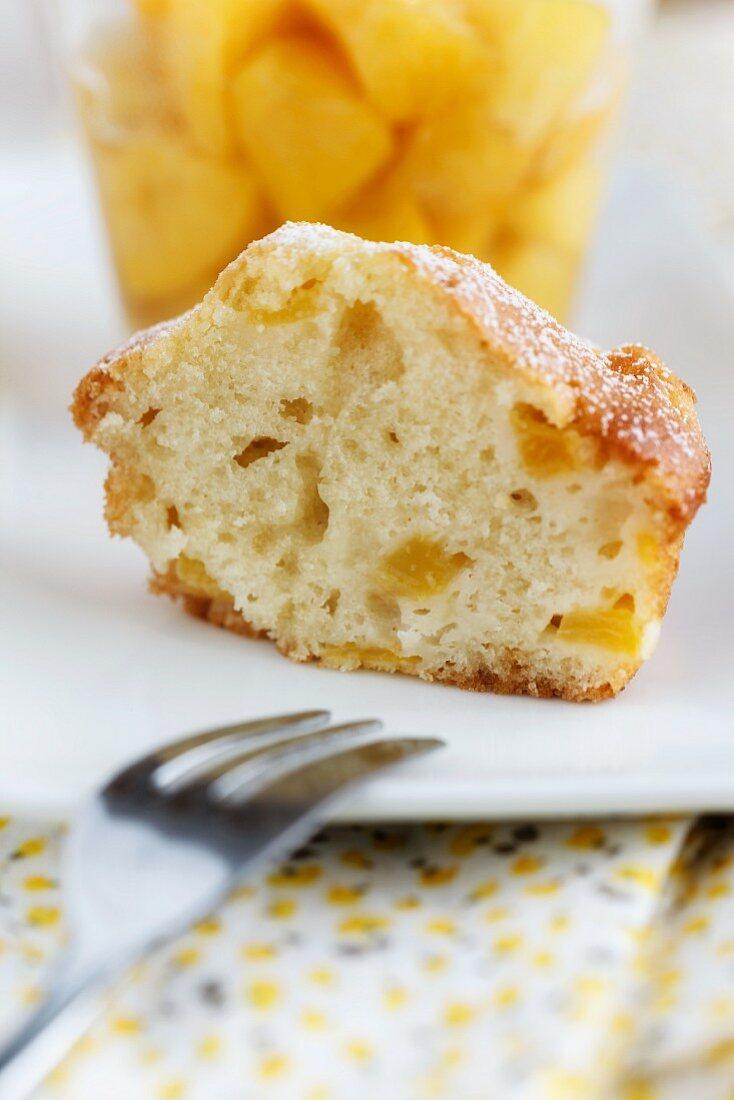 A peach muffin and peach compote