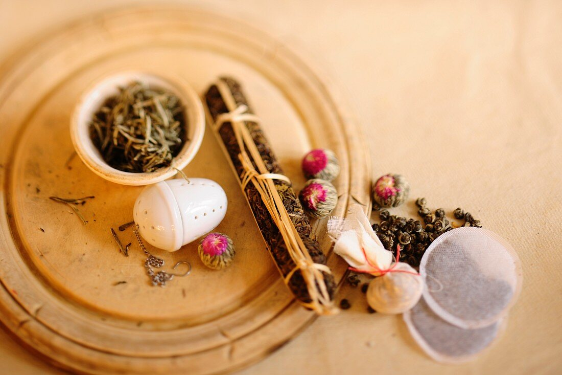 Various types of tea, loose and bagged