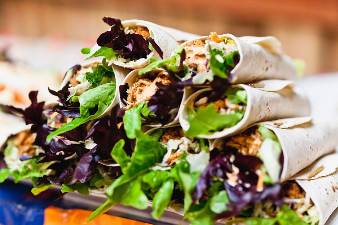 Close up of stack of salad rolls