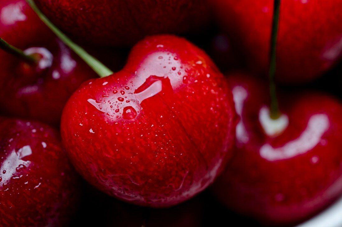 Close Up of Red Cherries