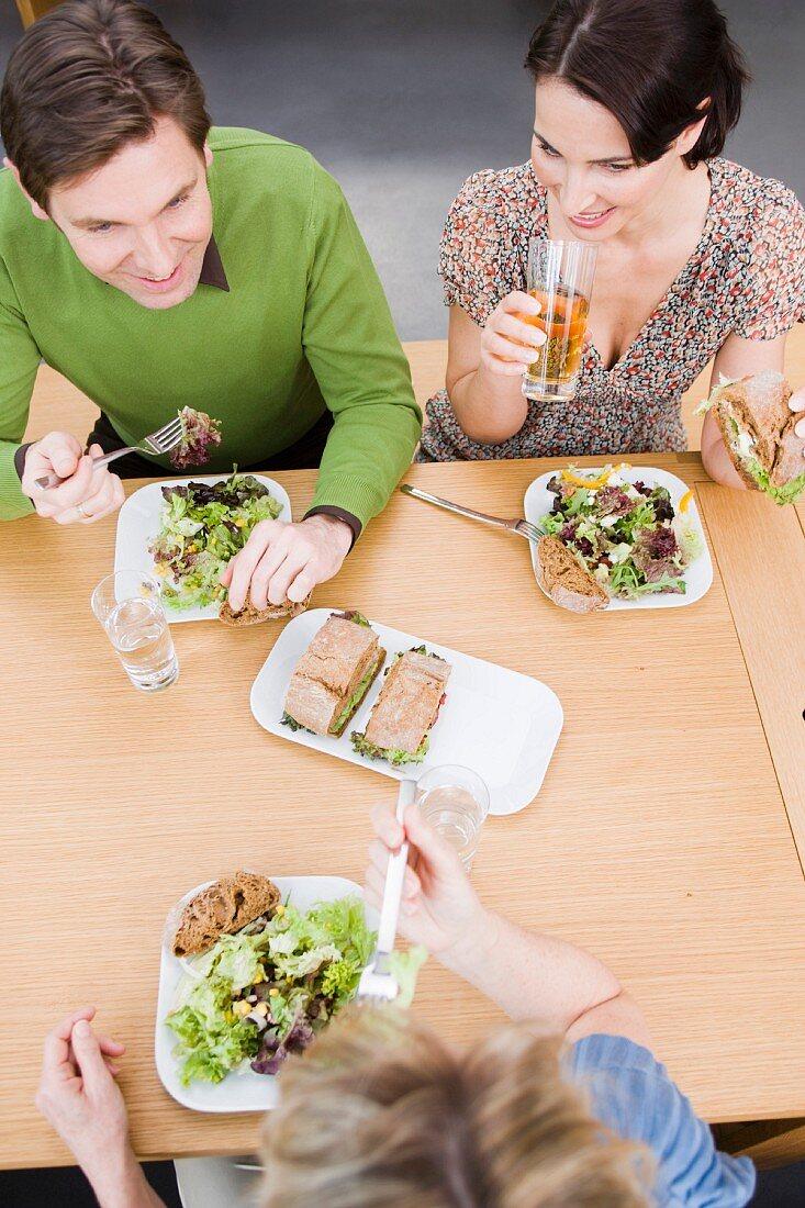 Team eating health food