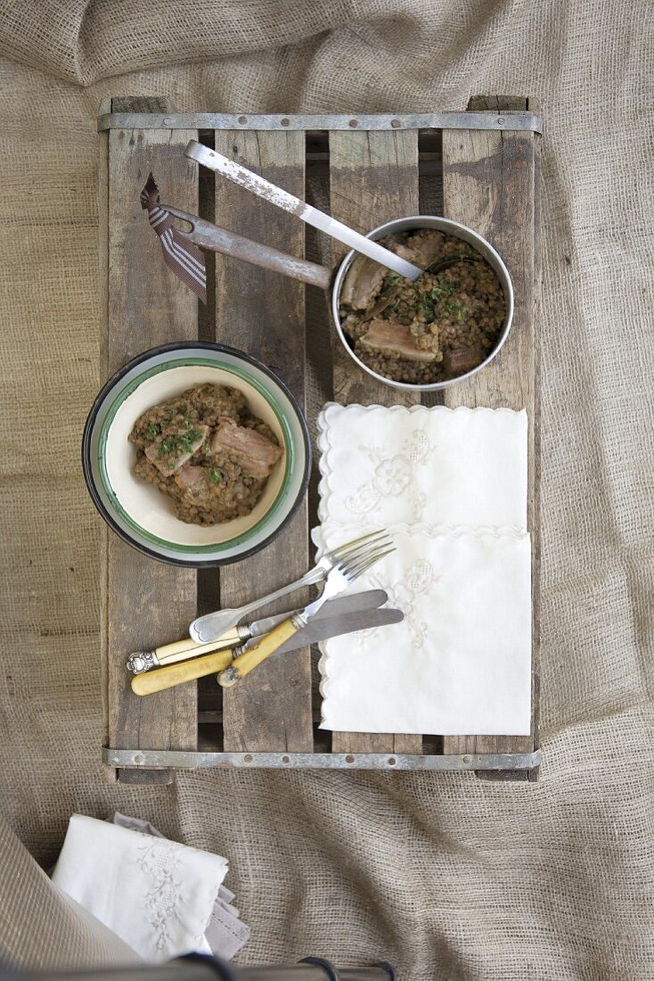 Lentils with smoked bacon