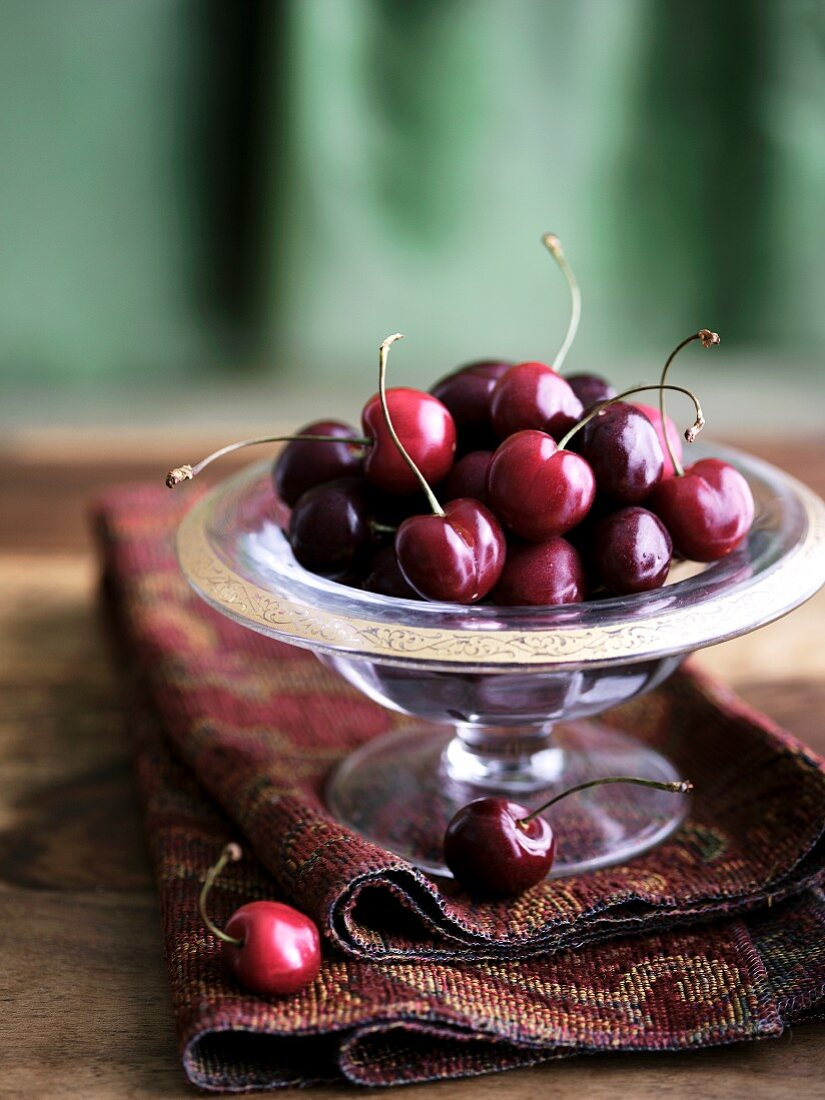 Cherries in a Glass Dish
