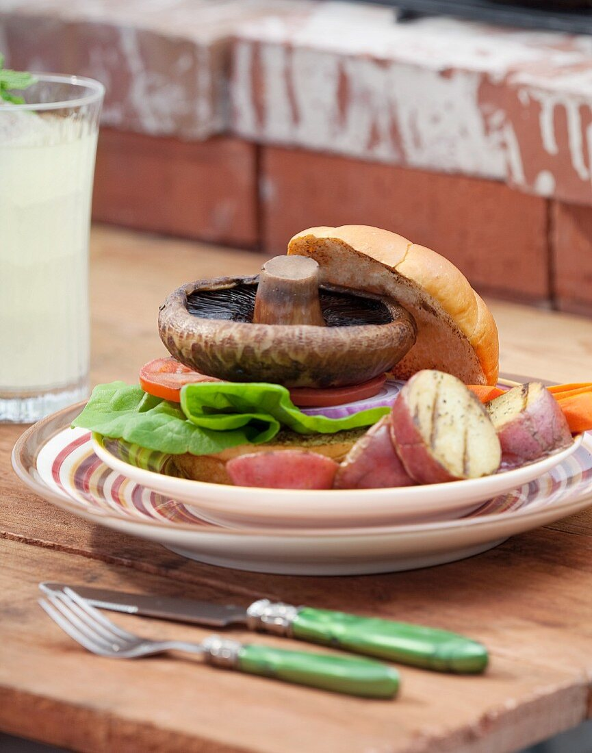 Grilled Portobello Sandwich with Roasted Red Potatoes