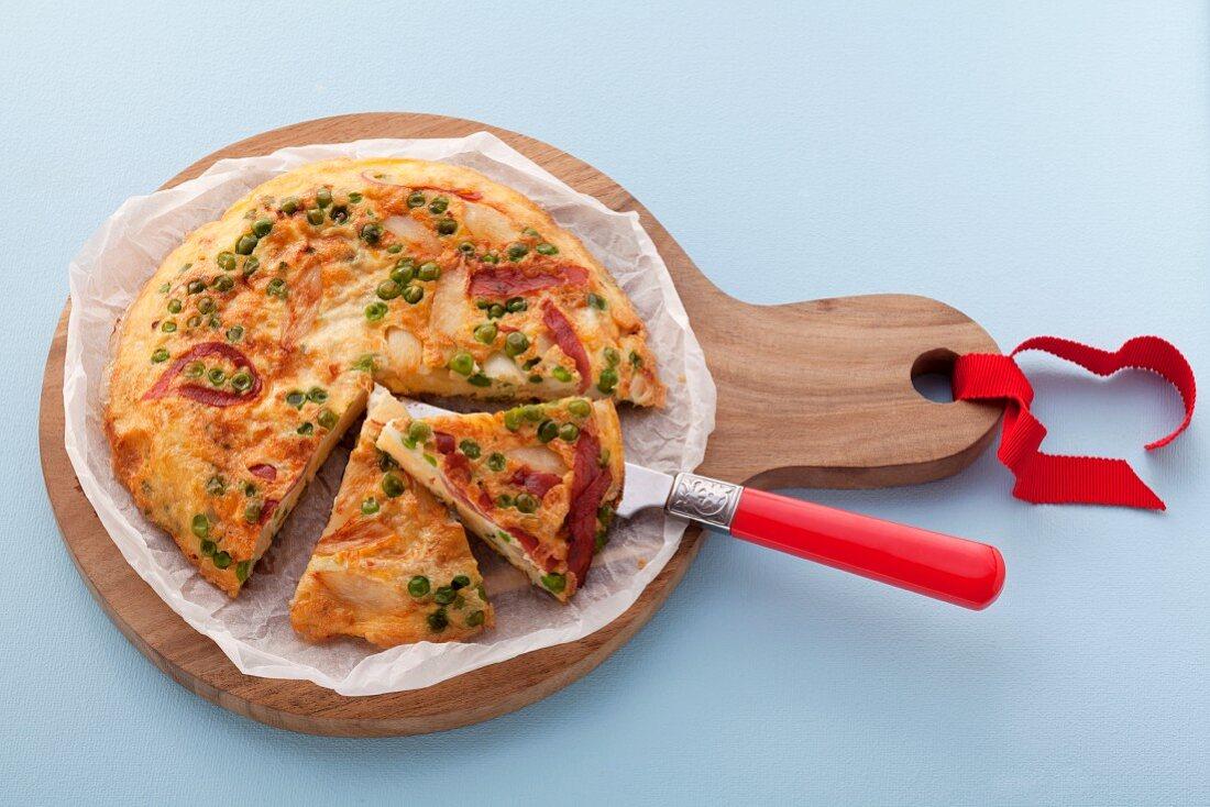 Ham, pea and asparagus frittata