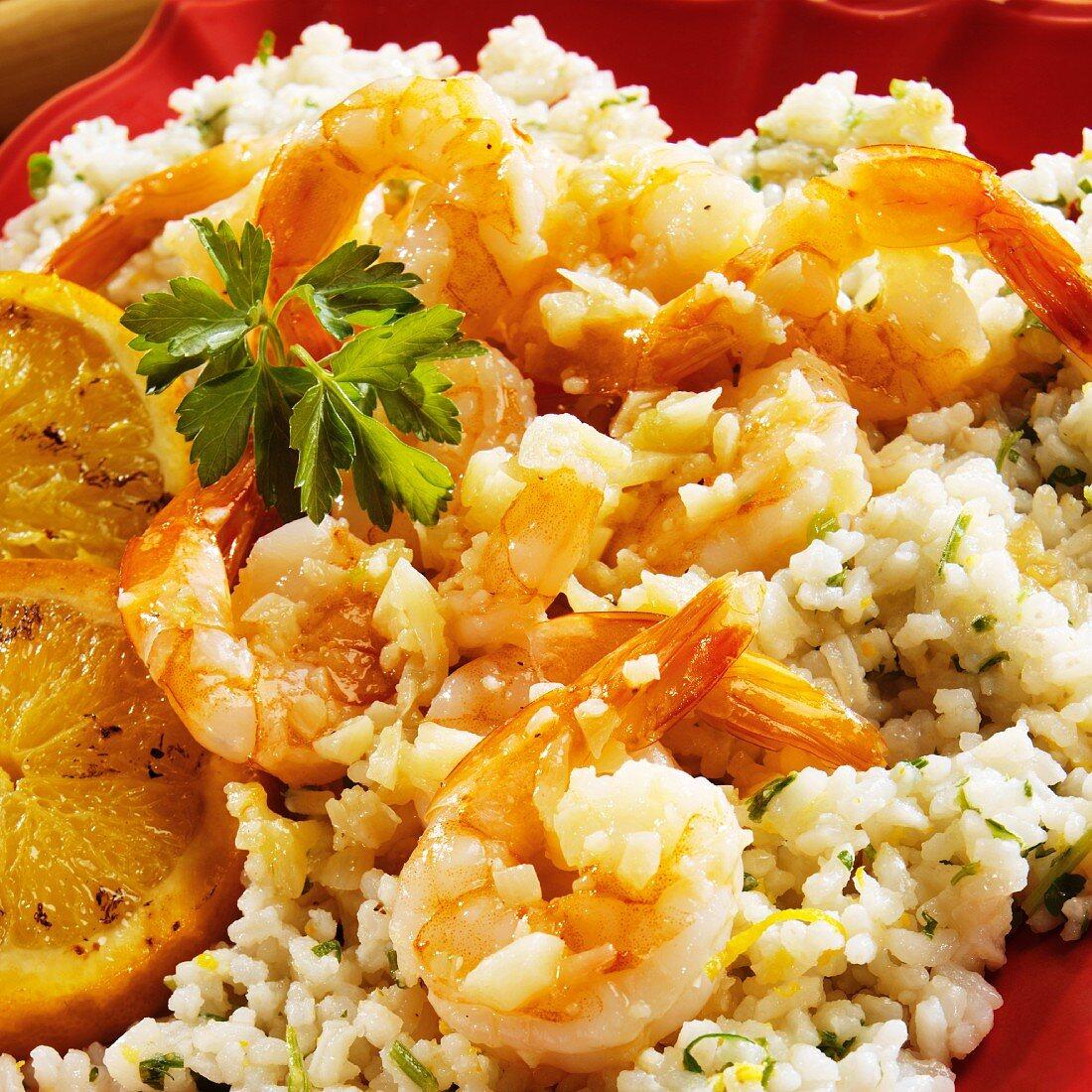 Garlic Sauteed Shrimp on Orange Infused Rice