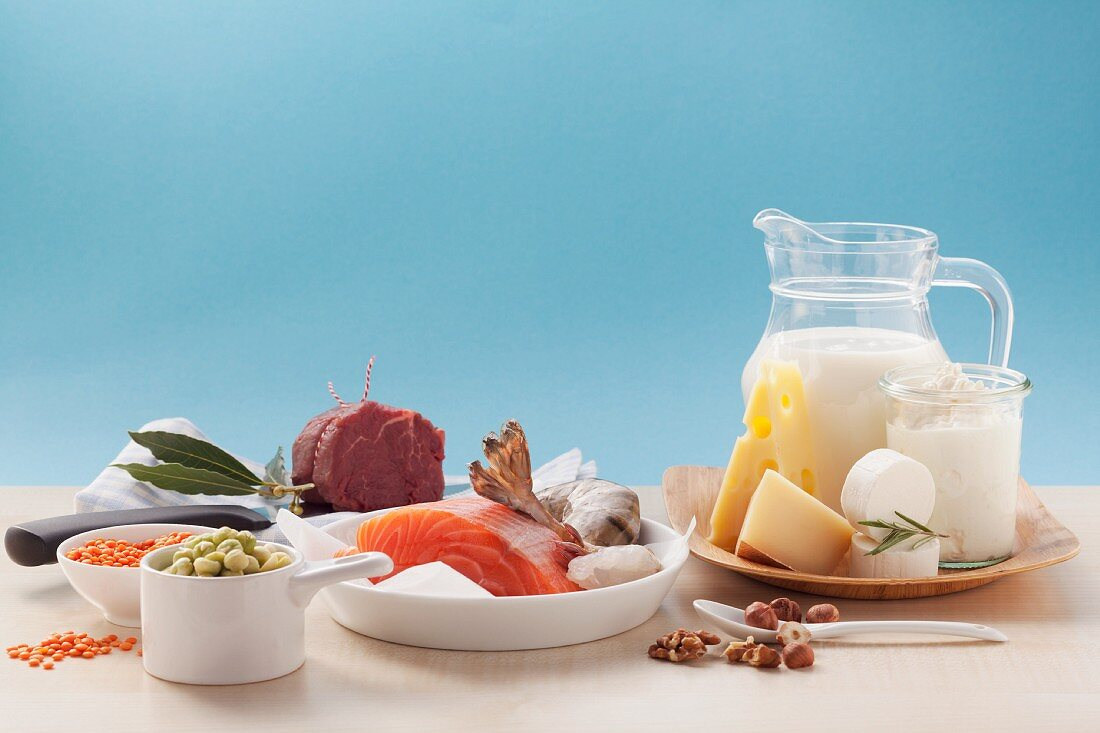 Protein-rich food (meat, fish and dairy products)