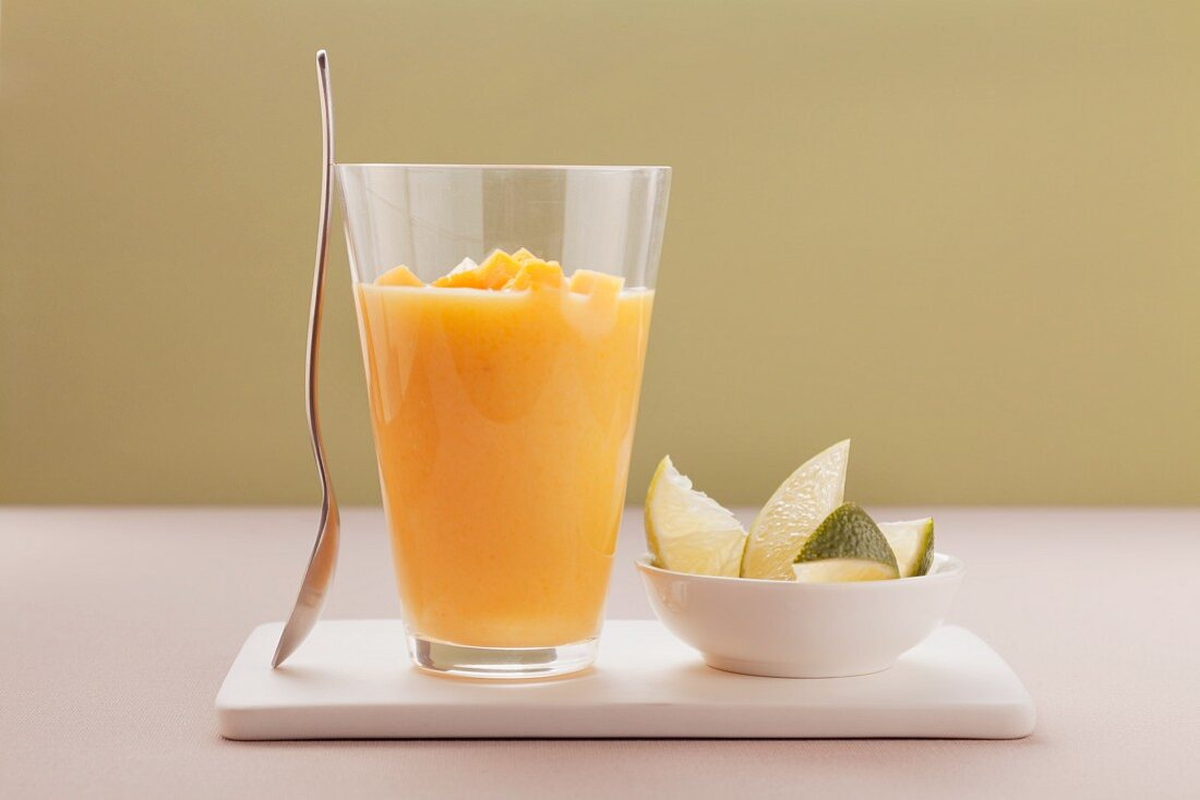 A pineapple and mango shake with coconut milk