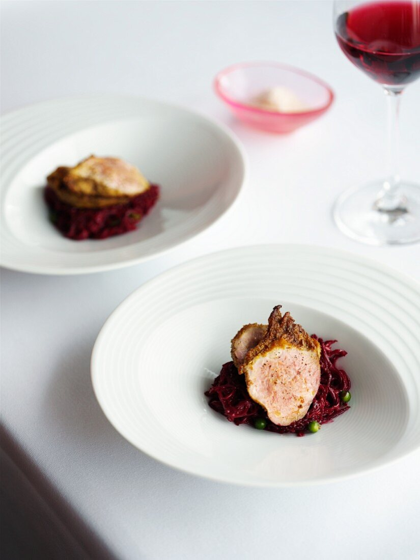 Quail breast with a spicy beetroot medley