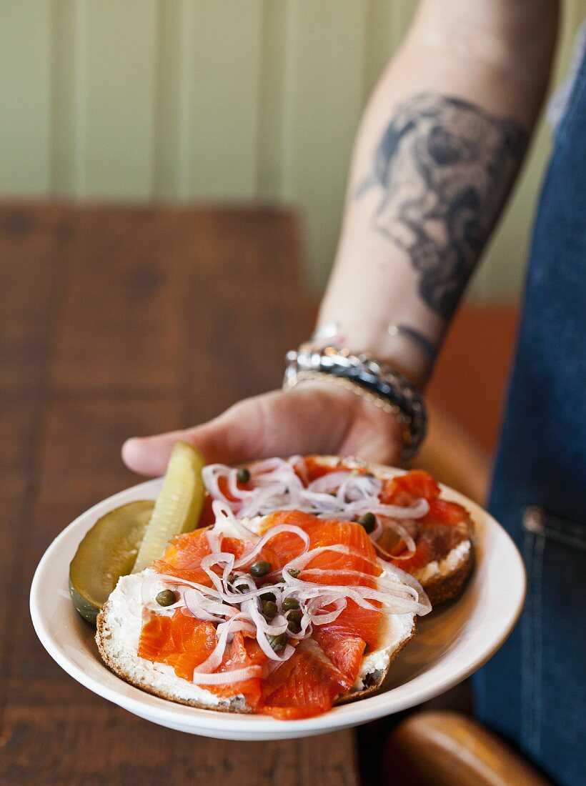 A Bagel with Lox, Capers and Red Onion