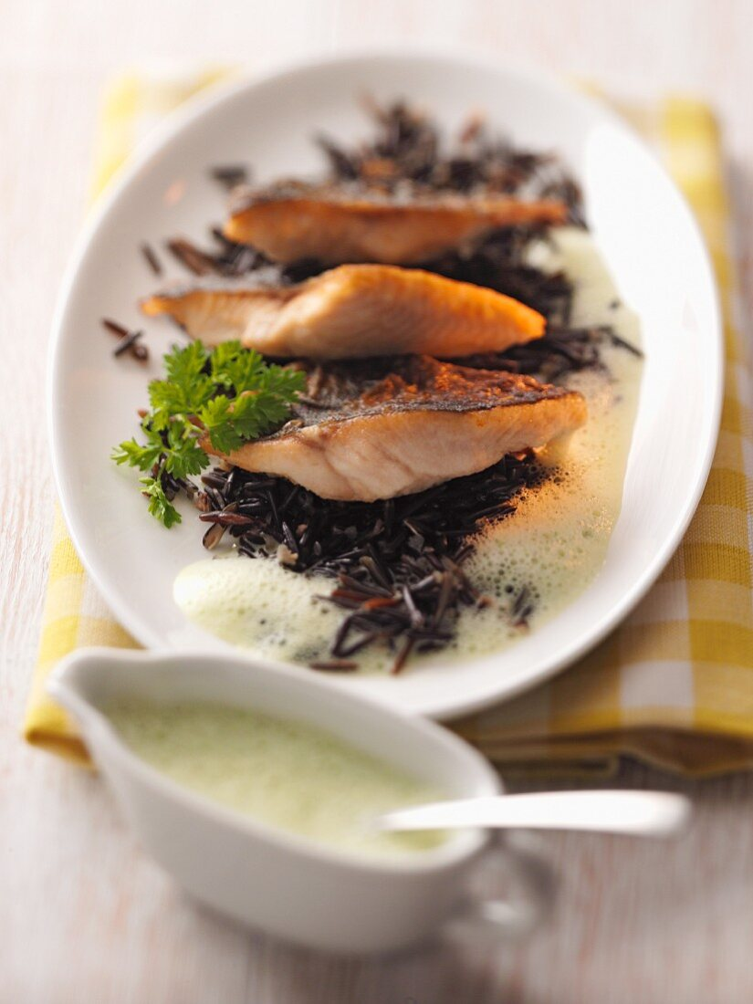Char on black rice