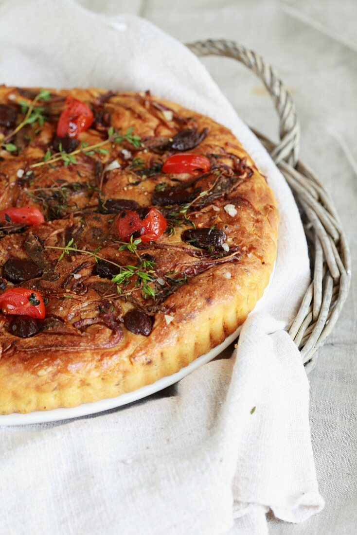 Pissaladière with olives, onions and tomatoes