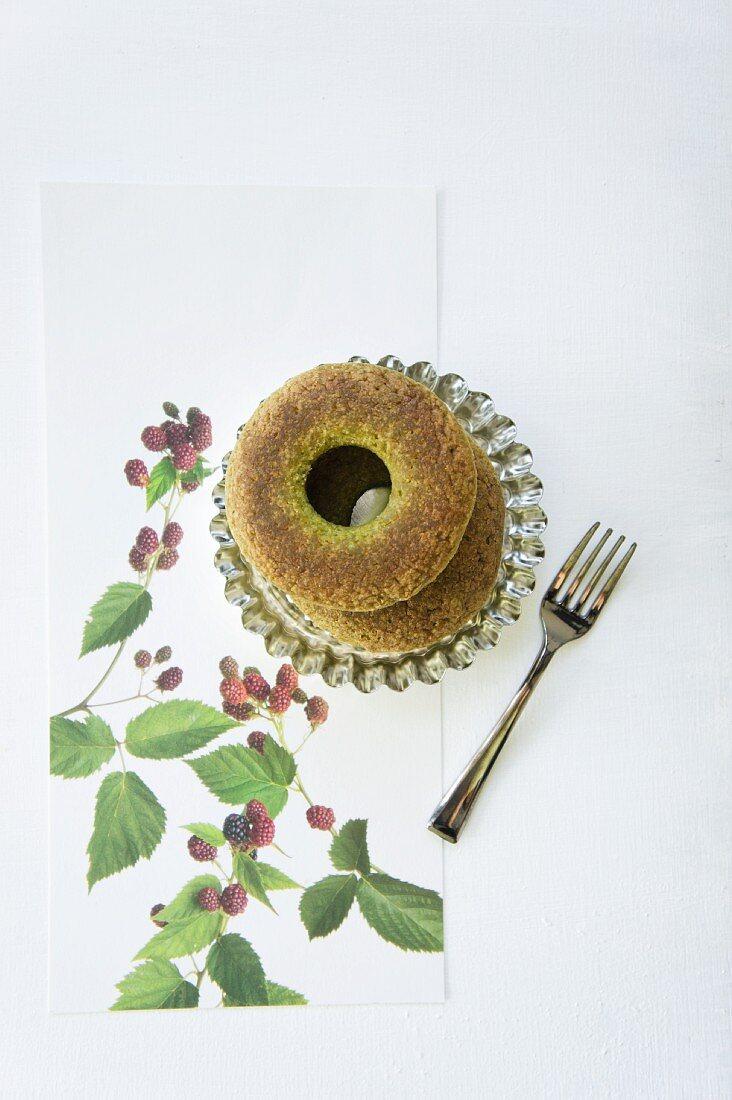 Doughnuts with green tea
