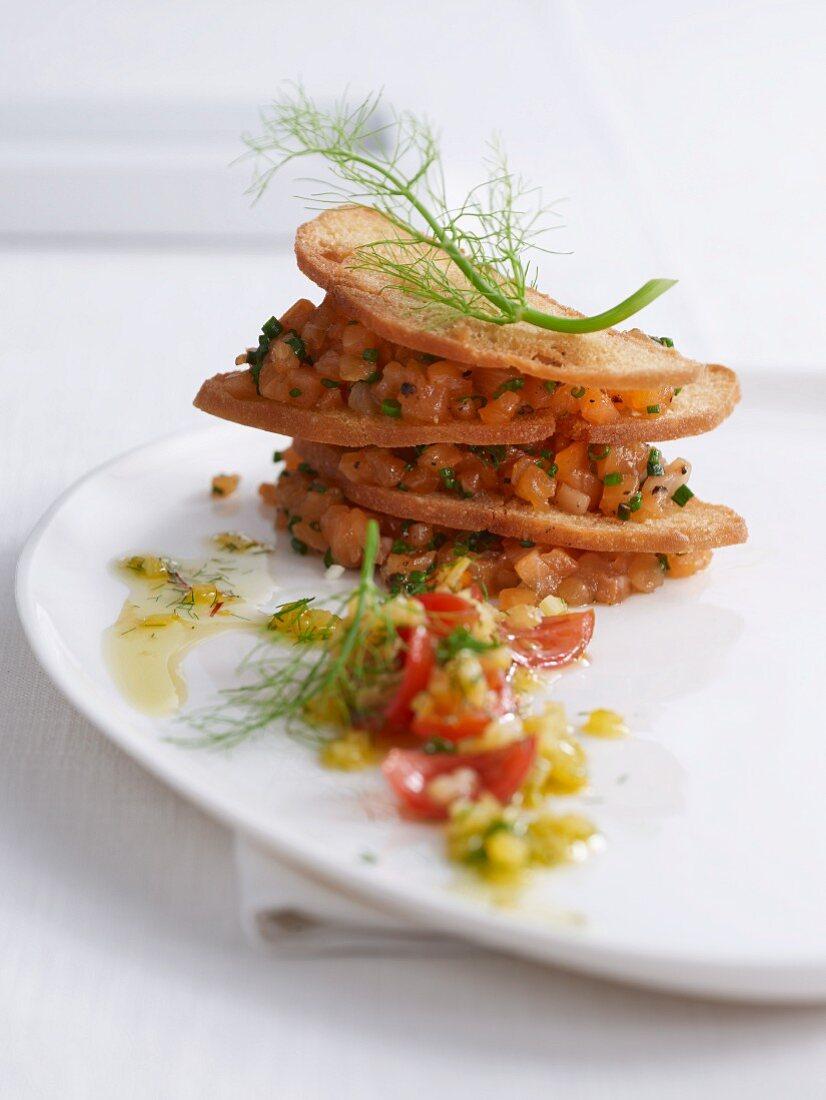 Crispy char tartar with a fennel vinaigrette