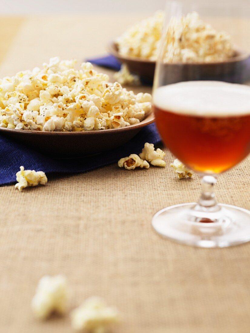 Popcorn and dark beer