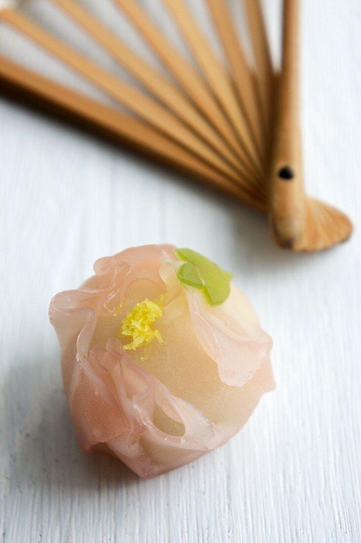 Peony wagashi, sweet Japanese rice cakes