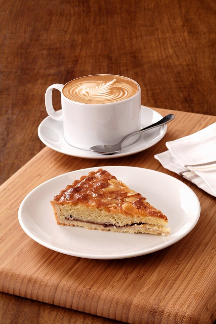 Cappuccino and almond tart