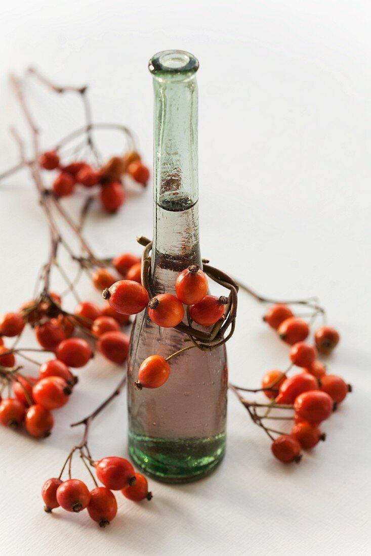 A bottle of homemade rosehip vinegar