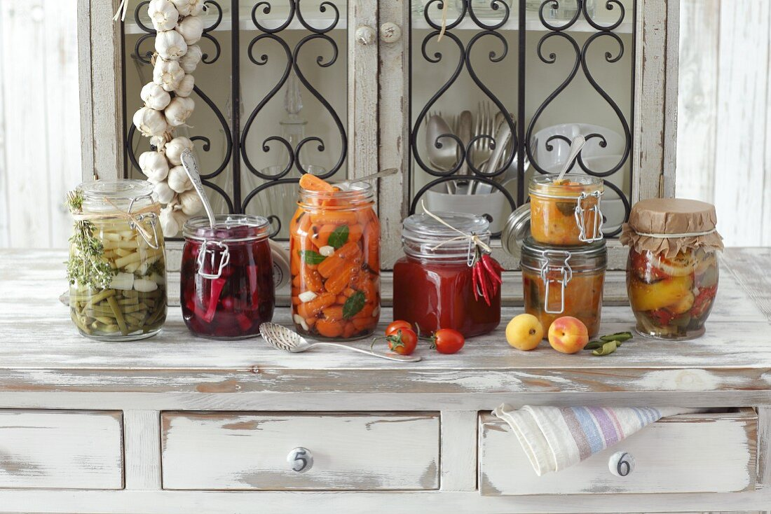 Various types of chutneys and preserved vegetables