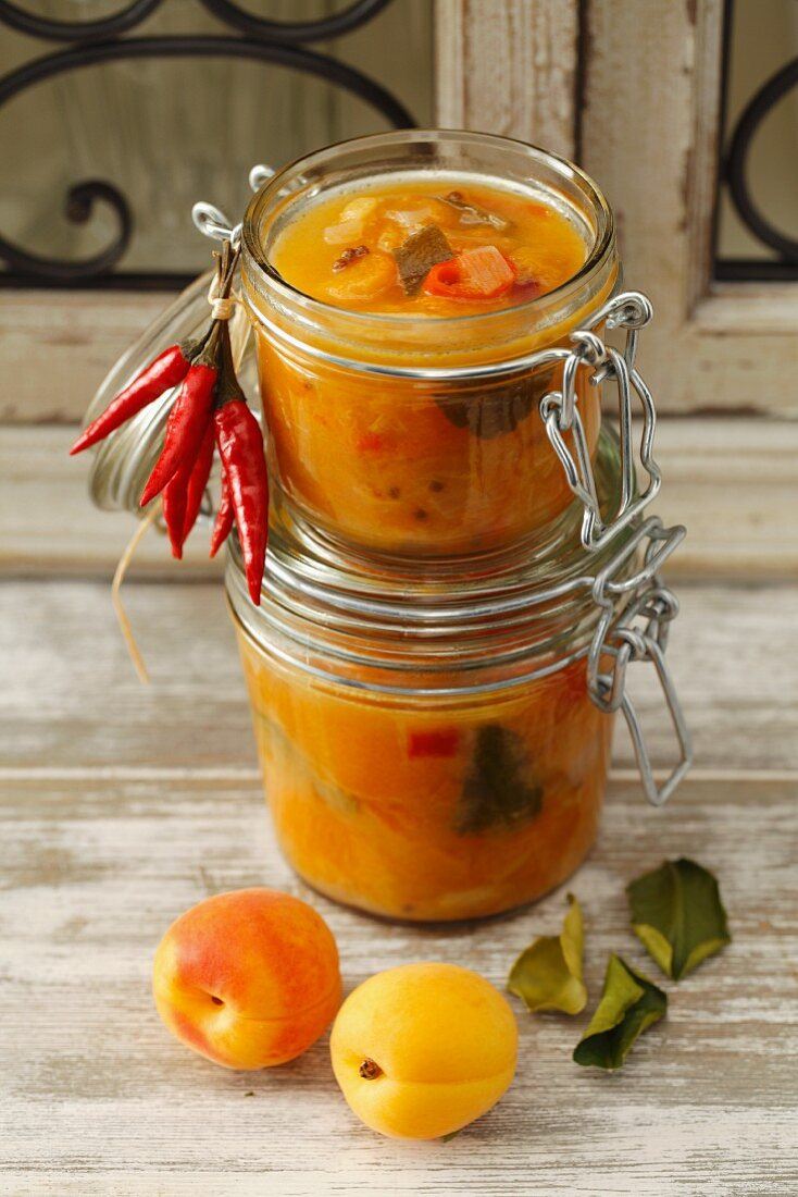 Apricot chutney with chilli peppers and kaffir lime leaves