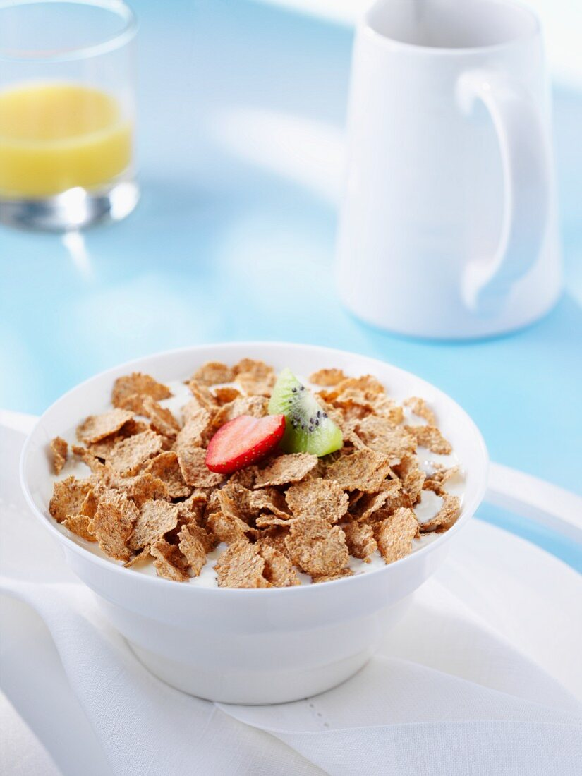 Bowl of Bran Flake Cereal with Milk