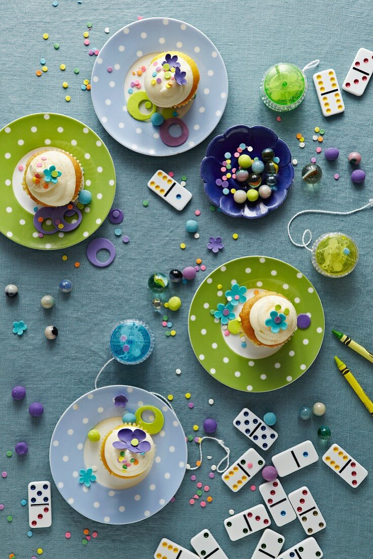 Kids Party Cupcakes with Kid Toys