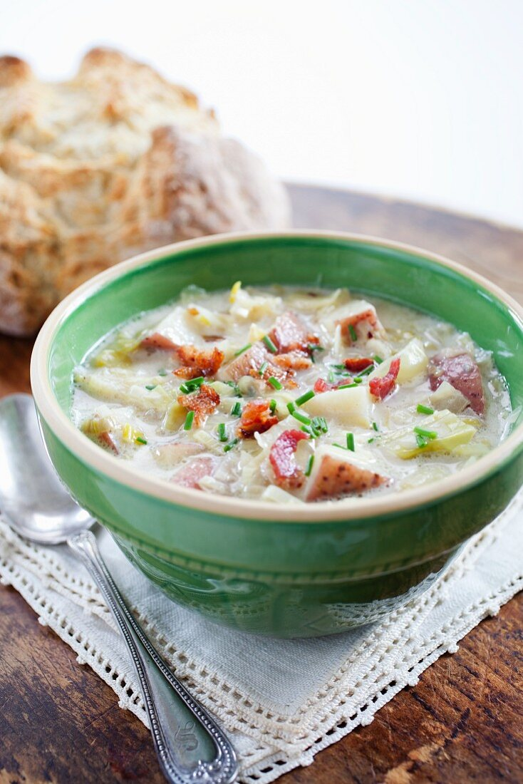 Bowl of Colcannon; Loaf of Bread