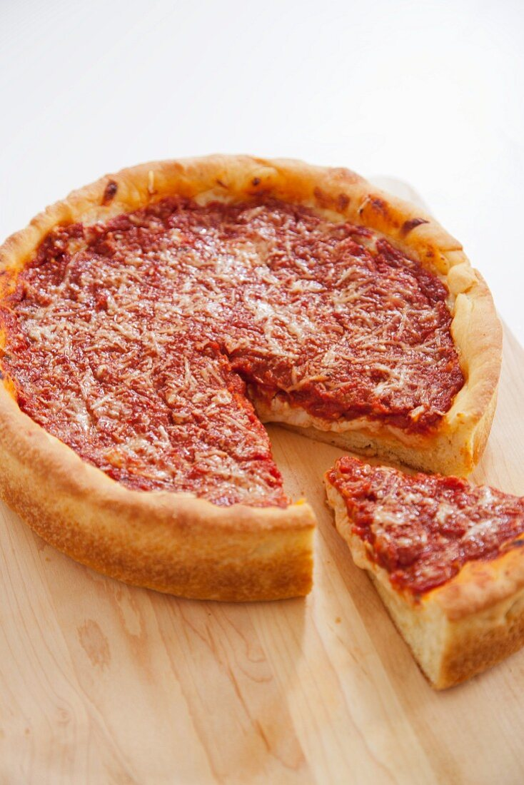 Deep Dish Pizza with Slice Removed