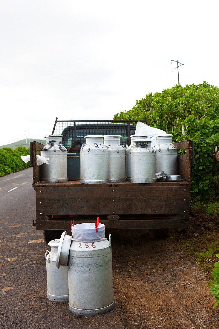 Milk churns on a pick-up truck (Sao Jorge, Azores)