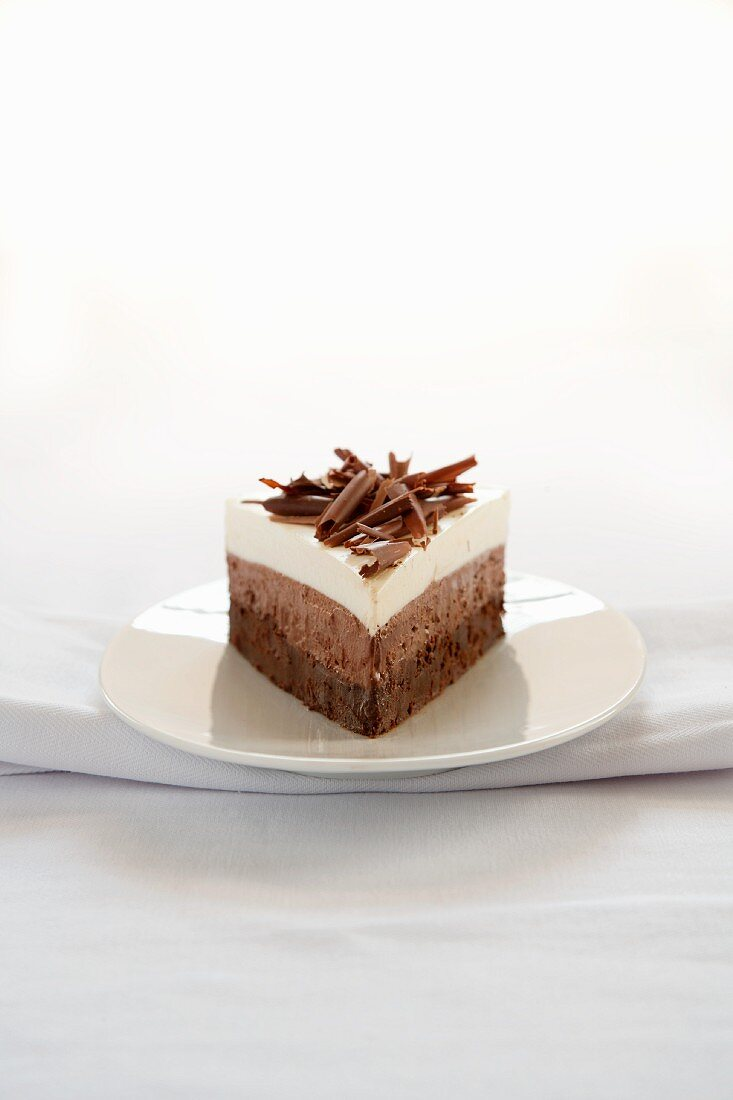 Slice of Triple Layer Mousse Cake