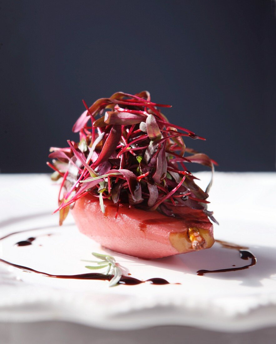 A Poached Pear with Bulls Blood Microgreens