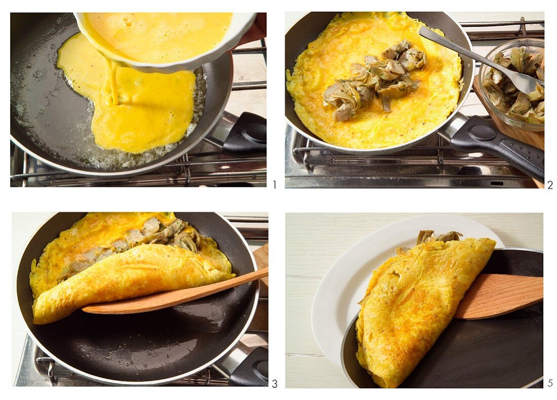 Artichoke omelette being prepared