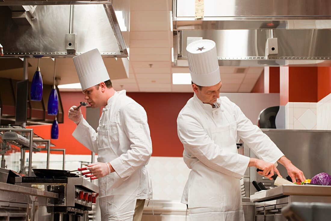 Chefs preparing food in commercial kitchen