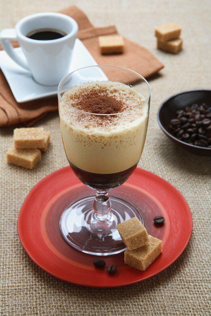 Caffe Shakerato (Italian coffee speciality with espresso and ice)