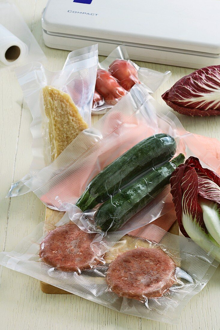Various vacuum-packed foods