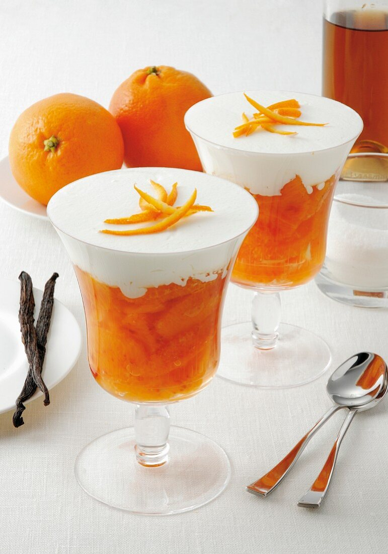 Orange compote with whiskey and vanilla cream