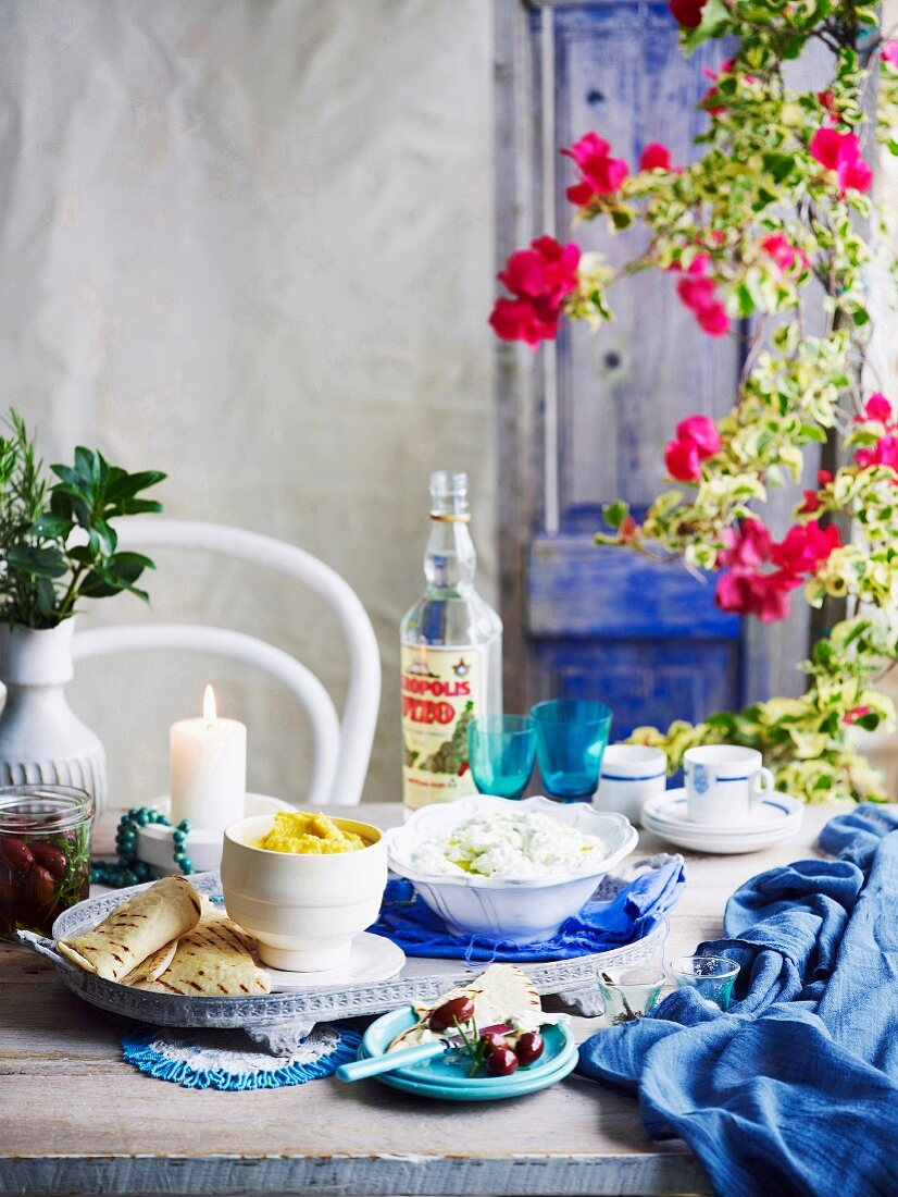 A table laid for Greek Easter celebrations