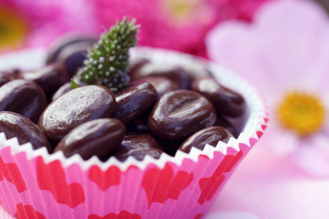 Chocolate coffee bean in a paper case
