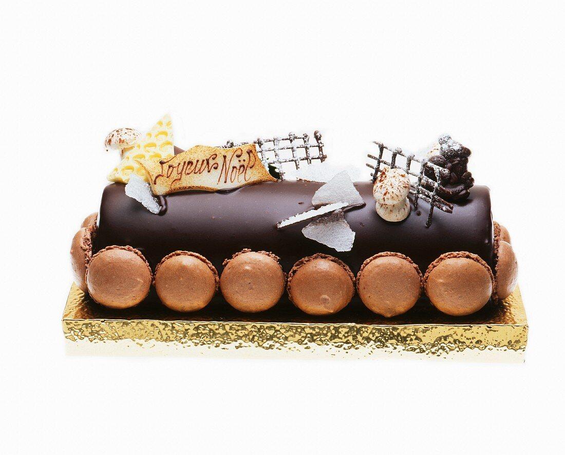 Buche De Noel (French Christmas cake) with macaroons