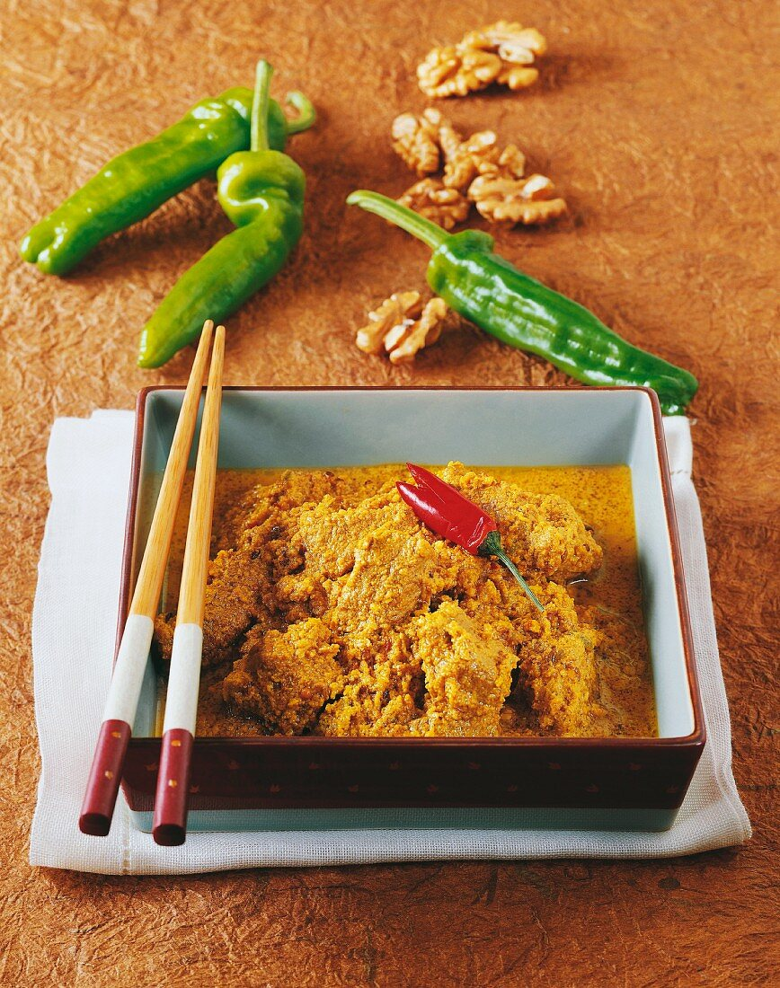 Gulai Lemak (spicy beef with coconut and walnuts, Indonesia)