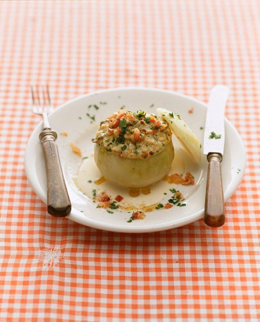 A stuffed, gratinated onion