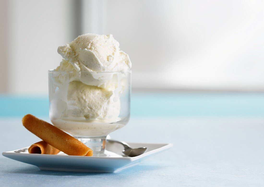 Vanilla ice cream with wafer rolls
