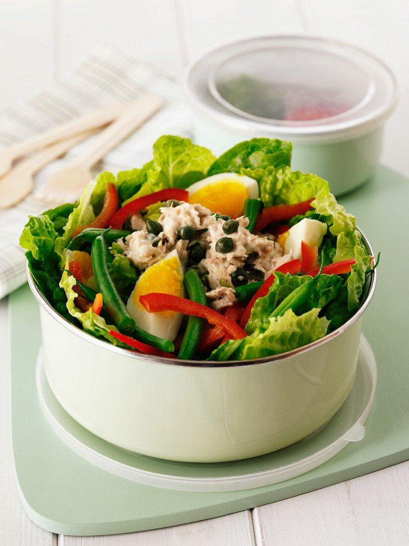 Salad Niçoise in a lunchbox
