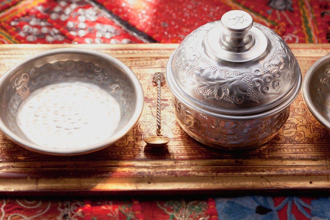 Silver Arab utensils