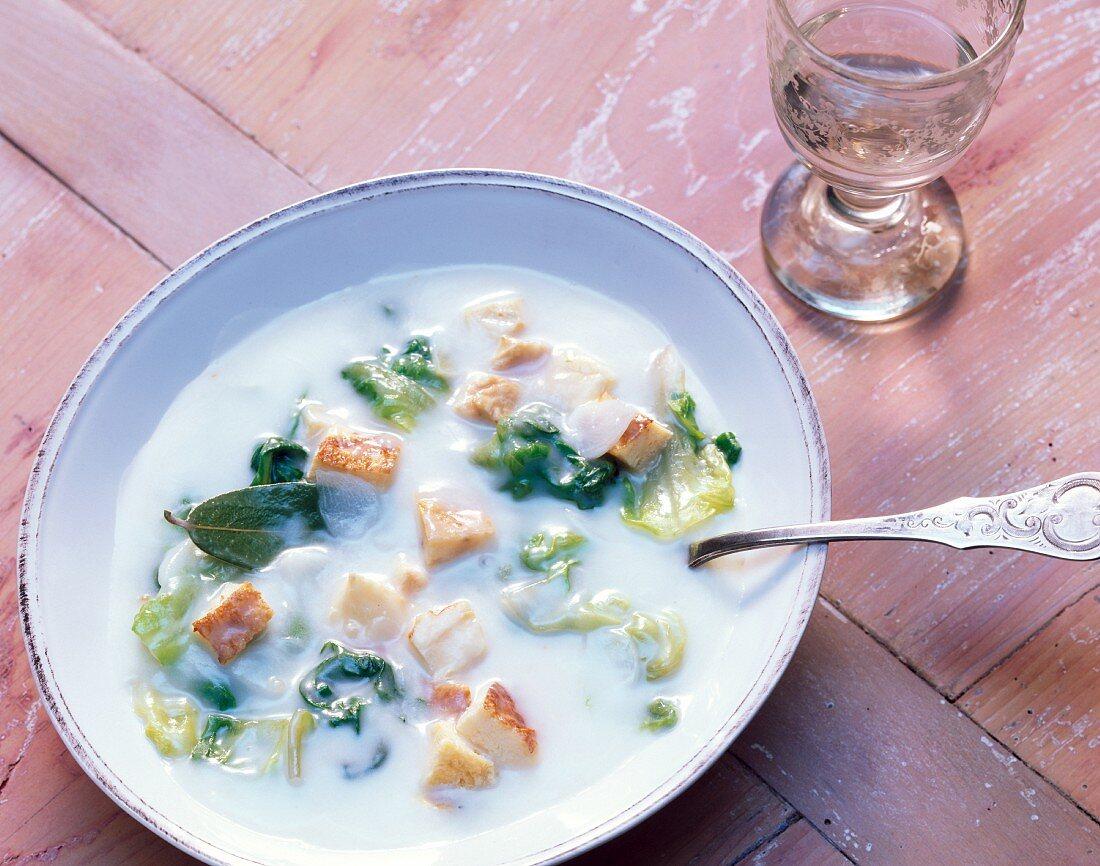 Lettuce soup with custard royale