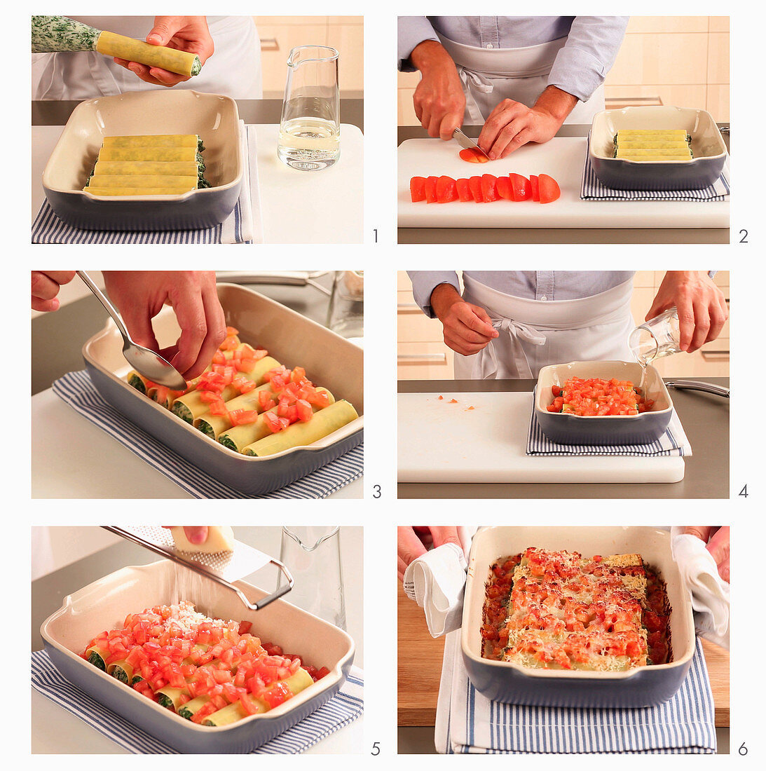 Cannelloni with a spinach and ricotta filling and tomatoes being made