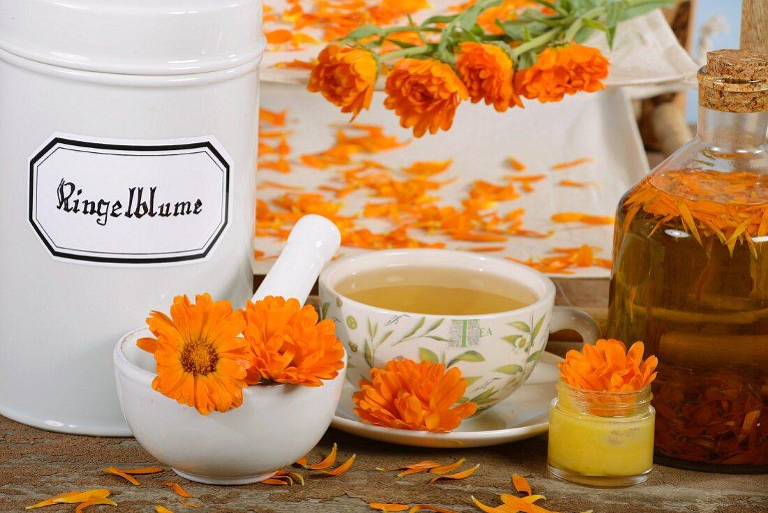 Marigold tea, marigolds, creme and oil