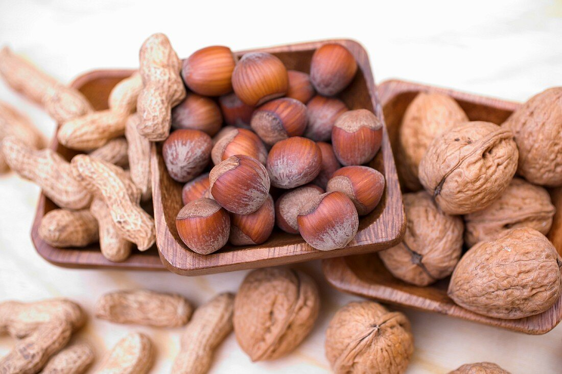 Peanuts, hazelnuts and walnuts in wooden dishes